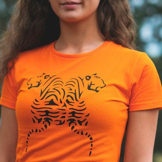 Дамска тениска Тигри оранжева дизайн