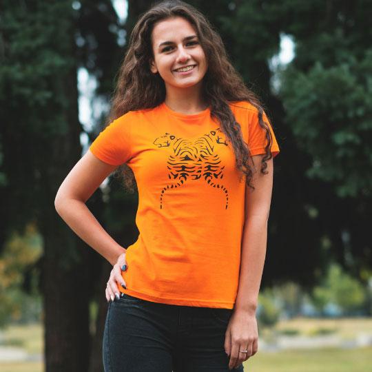 Дамска тениска Тигри оранжева лице