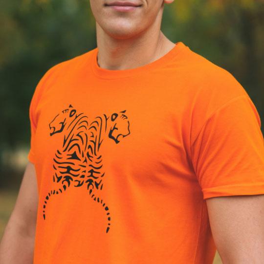 Мъжка тениска Тигри оранжева дизайн