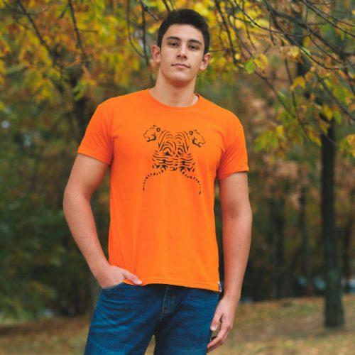 Мъжка тениски Тигри оранжева лице